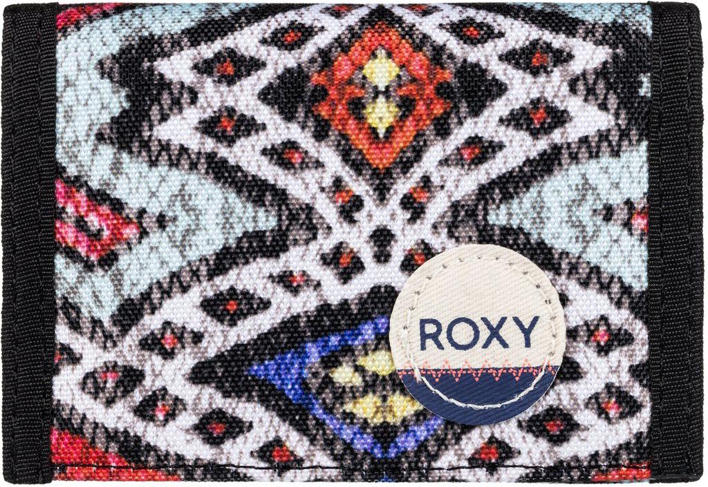 Кошелек женский Roxy Small Beach, цвет: мультиколор. ERJAA03215-BLA6490300нЖенский кошелек от Roxy выполнен из полиэстера и оформлен оригинальным принтом. У модели складной дизайн, три секции, кармашек для мелочи на молнии, много отделений для карточек, отделение для банкнот. Застегивается на липучку Velcro, дополнен хлопчатобумажной нашивкой с логотипом.