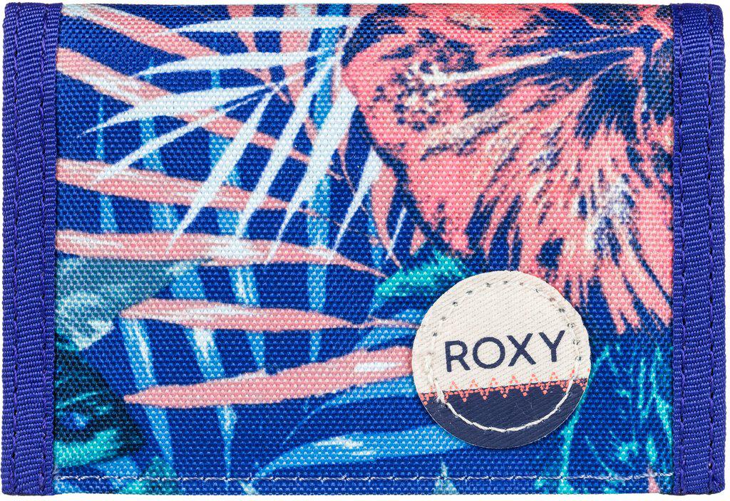 Кошелек женский Roxy Small Beach, цвет: голубой, оранжевый. ERJAA03215-PQF6S98156Женский кошелек от Roxy выполнен из полиэстера и оформлен оригинальным принтом. У модели складной дизайн, три секции, кармашек для мелочи на молнии, много отделений для карточек, отделение для банкнот. Застегивается на липучку Velcro, дополнен хлопчатобумажной нашивкой с логотипом.