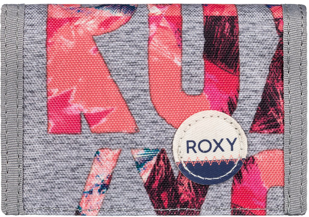 Кошелек женский Roxy Small Beach, цвет: серый, оранжевый. ERJAA03215-SGR6BM8434-58AEЖенский кошелек от Roxy выполнен из полиэстера и оформлен оригинальным принтом. У модели складной дизайн, три секции, кармашек для мелочи на молнии, много отделений для карточек, отделение для банкнот. Застегивается на липучку Velcro, дополнен хлопчатобумажной нашивкой с логотипом.
