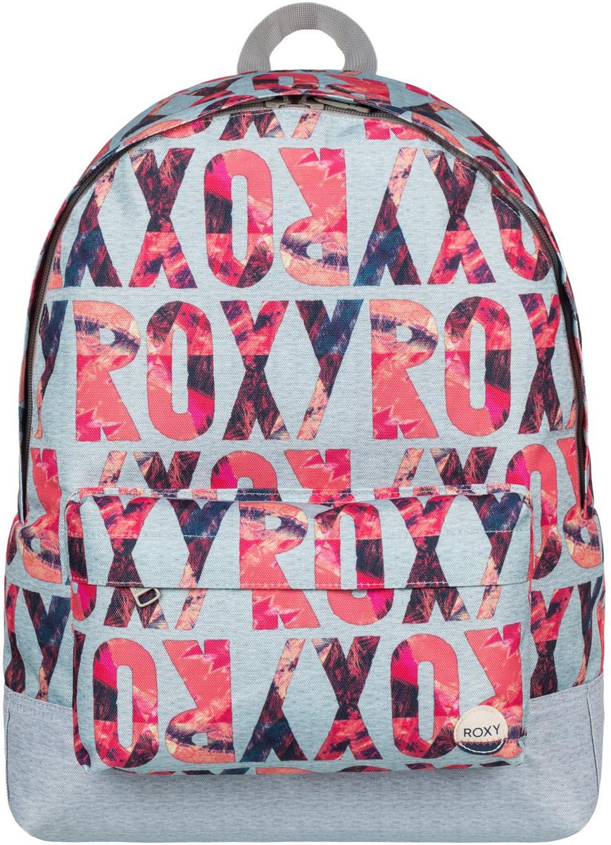 Рюкзак женский Roxy Sugar Baby, цвет: серый, розовый. ERJBP03406-SGR6S76245Женский рюкзак Roxy Sugar Baby выполнен из текстиля. У модели одно основное отделение. Передний карман на молнии. Рюкзак с регулируемыми набивными заплечными ремнями.