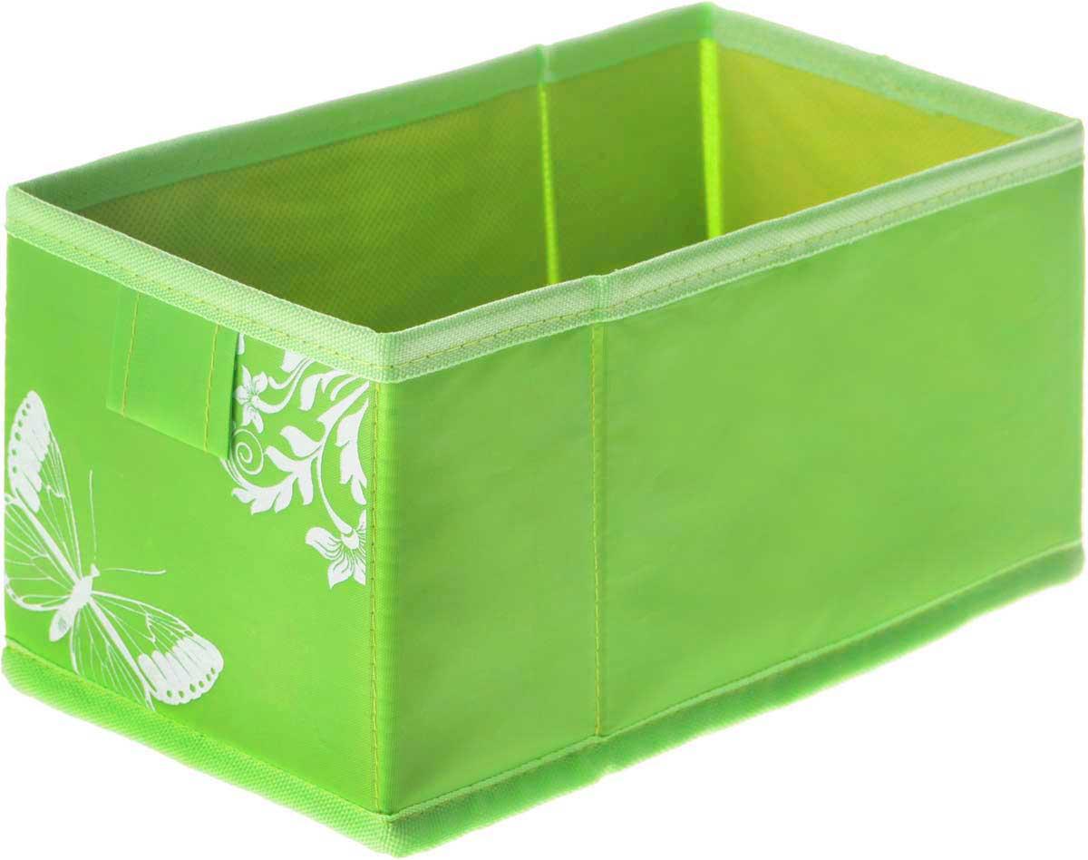 Коробка для хранения Hausmann Butterfly, цвет: салатовый, 13 х 27 х 12,5 см4P-107-M4С_салатовыйКоробка для хранения Hausmann Butterfly поможет легко организовать пространство в шкафу или в гардеробе. Изделие выполнено из нетканого материала и полиэстера. Коробка держит форму благодаря жесткой вставке из картона, которая устанавливается на дно. Боковая поверхность оформлена красивым принтом с изображением бабочек.В такой коробке удобно хранить нижнее белье, ремни и различные аксессуары.