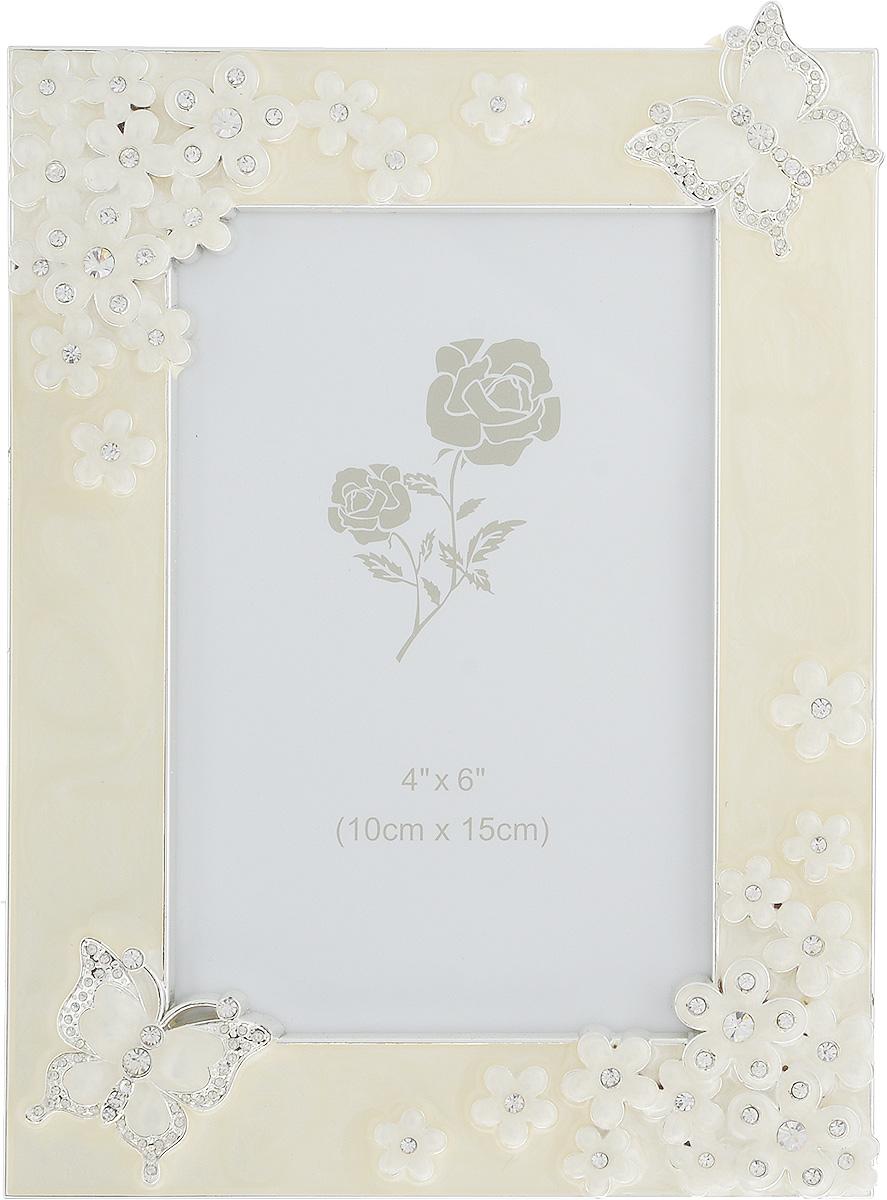 Фоторамка Platinum Бабочки и цветы, 10 х 15 см. PF10923PLATINUM BH-1314-White-БелыйДекоративная фоторамка Platinum Бабочки и цветы, выполненная из металла, оформлена эмалью и стразами. Изделие имеет прямоугольную форму. Рамка позволит сохранить на память изображения дорогих вам людей и интересных событий вашей жизни. Фоторамка имеет ножку для размещения на столе. С таким украшением вы сможете не просто внести в интерьер своего дома элемент необычности, но и создать атмосферу уюта и тепла.