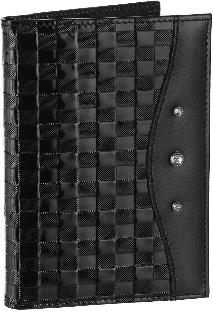 Бумажник водителя женский Elisir Bottega black, цвет: черный. EL-LK269-BV0013-000EL-LK269-BV0013-000Бумажник водителя Elisir Bottega black выполнен из натуральной кожи и декорирован кристаллами Swarovski. Изделие содержит четыре кармана для кредитных карт, два открытых кармана и блок из прозрачного пластика для автодокументов.