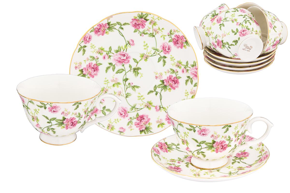 Набор чайный Elan Gallery Плетистая роза, 12 предметовVT-1520(SR)Чайный набор Плетистая роза с изумительным цветочным декором на 12 персон украсит Ваше чаепитие. В комплекте 12 чашек объемом 250 мл, 12 блюдец.
