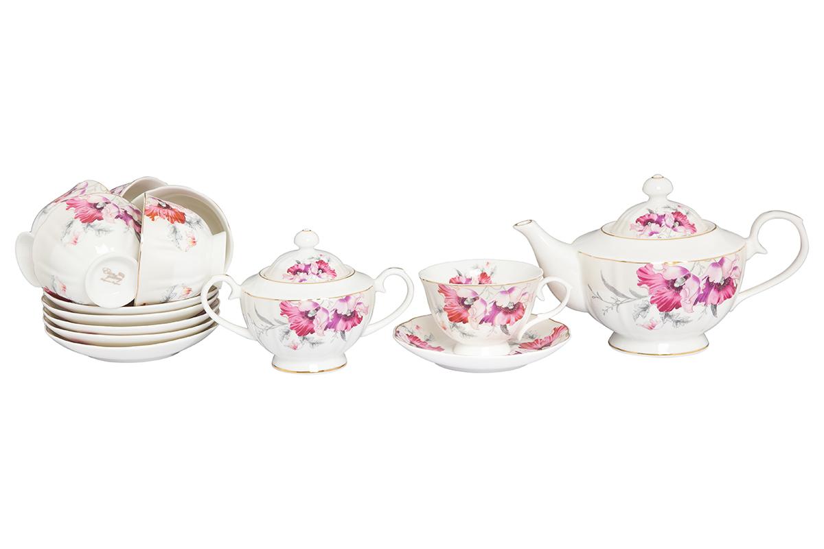 Набор чайный Elan Gallery Серебристый мак, 14 предметов115510Великолепный чайный набор Серебристый мак на 6 персон станет шикарным подарком. В комплекте 6 чашек объемом 250 мл, 6 блюдец, сахарница объемом 450 мл, чайник объемом 1100 мл. Изделие имеет подарочную упаковку, поэтому станет желанным подарком для Ваших близких!