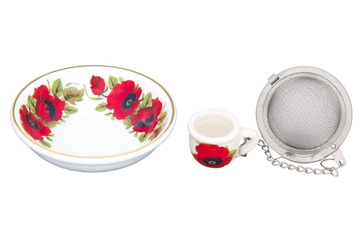 Набор для заваривания чая Elan Gallery Маки, 2 предмета115510Набор для заваривания чая из ситечка и подставки, с ярким рисунком Маки, придется по вкусу любой хозяйке. Приятный и полезный аксессуар на Вашей кухне. Дизайн наборов выверен учитывая все подробности. Все элементы тщательно выбраны и удачно подходят друг к другу. Модель состоит из материалов отличного качества красивой палитры. Этот набор марки Elan Gallery замечательно подойдут под ваш любимый наряд и покажут вас в выигрышной позиции и в театре и на вечеринке. Эта модель станет хорошей находкой для себя или презентом на день рождения. Великолепные наборы для чаепития Elan Gallery будут хорошим выбором для домашней коллекции. Размер подставки: 7,5 х 7,5 х 2 см. Объем: 40 мл.
