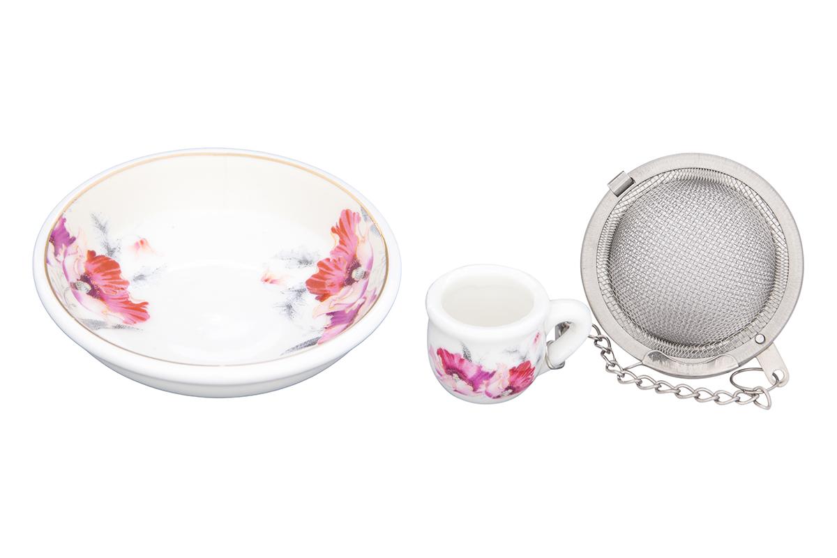 Набор для заваривания чая Elan Gallery Серебристый мак, 2 предмета54 009312Набор для заваривания чая из ситечка и подставки, с нежным рисунком Серебристый мак придется по вкусу любой хозяйке. Приятный и полезный аксессуар на Вашей кухне.