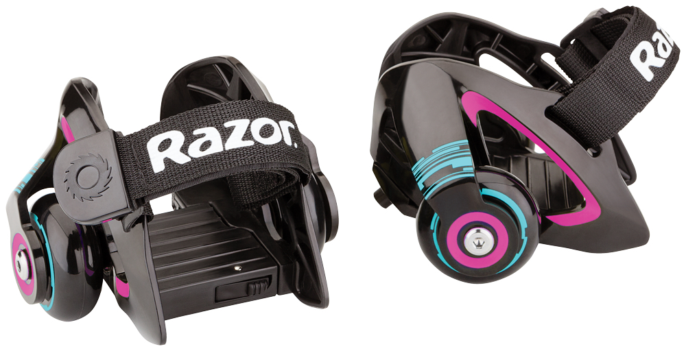 Ролики на обувь Razor Jetts, цвет: черный, фуксия140209Ролики Razor Jetts, выполненные из пластика и полиуретана, крепятся к ботинкам с помощью сверхпрочных регулируемых ремешков. Теперь можно с легкостью превратить любые кроссовки в ролики - нужно лишь хорошо затянуть ремни, обеспечив плотное прилегание к обуви. Отдельного внимания заслуживает тот факт, что ролики ролики Razor Jetts могут искрить, когда задняя часть платформы оказывается под прямым углом по отношению к поверхности дороги.Подходят под детскую обувь до 29 размера и взрослую обувь до 46 размера. Возрастные ограничения: от 6 лет.Рост: от 100 до 200 см.Максимальная нагрузка: 80 кг.Быстросъемный и заменяющийся искрящий элемент. Быстрые и плавные фирменные подшипники RZR.