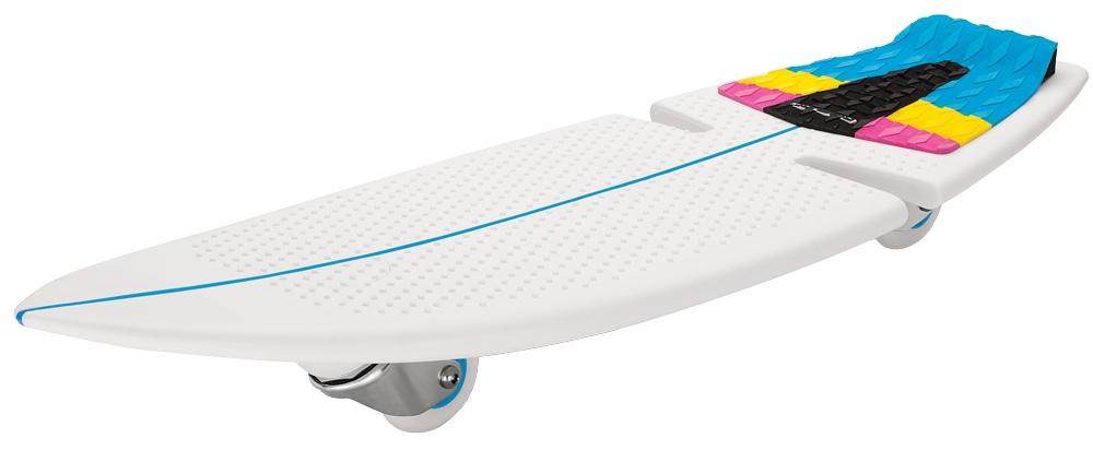 Роллерсерф Razor RipSurf, цвет: белый, синий, розовый, длина деки 82 смMHDR2G/AРоллерсерф Razor RipSurf позволяет райдерам кататься по жесткому покрытию скейт-парка или дорожке в городском парке, словно по волнам, прям как настоящий серфер! Скейтборд состоит из цельной платформы для ног, выполненной из высокотехнологичного полимерного материала и двух колес, расположенных под острым углом к земле. Дека выполнена из полипропилена, благодаря чему, очень прочная, но в тоже время гибкая. В качестве усиления на деке сделаны специальные ребра жесткости. Колеса выполнены из уретана, вращаются на360°, что позволяет выполнять резкие повороты,а вогнутая середина - конкейв позволяет выполнять сложные трюки.Дополнительная сборка изделию не требуется.В комплект входит запасное колесо, а также яркие красивые наклейки на вашу доску.Возраст: от 7 лет.Максимальная нагрузка: 100 кг.Общая длина деки: 82 см.Ширина деки 28 см.