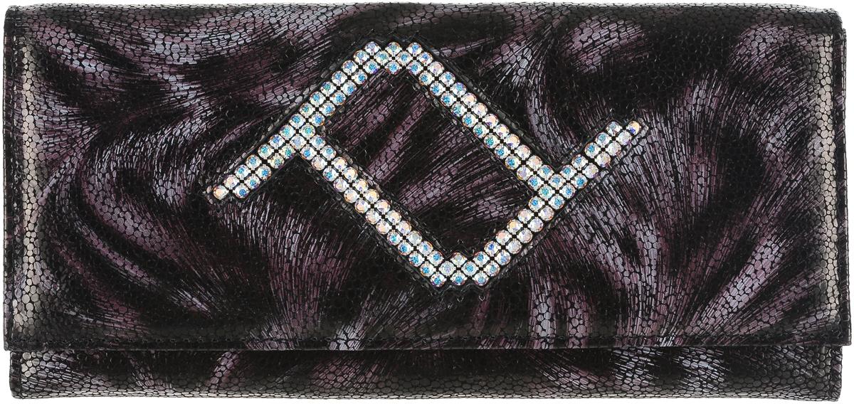 Кошелек женский Elisir France, цвет: темно-коричневый, сиреневый. EL-NK270-PR0032-000BP-001 BKЖенский кошелек Elisir France выполнен из натуральной кожи и декорирован кристаллами Swarovski. Закрывается модель при помощи клапана на металлической кнопке. На задней стенке скрытый карман. Изделие содержит три отделения для купюр, два скрытых кармана, глубокий карман на передней стенке, отделение для мелочи на молнии, восемь карманов для кредитных карт.