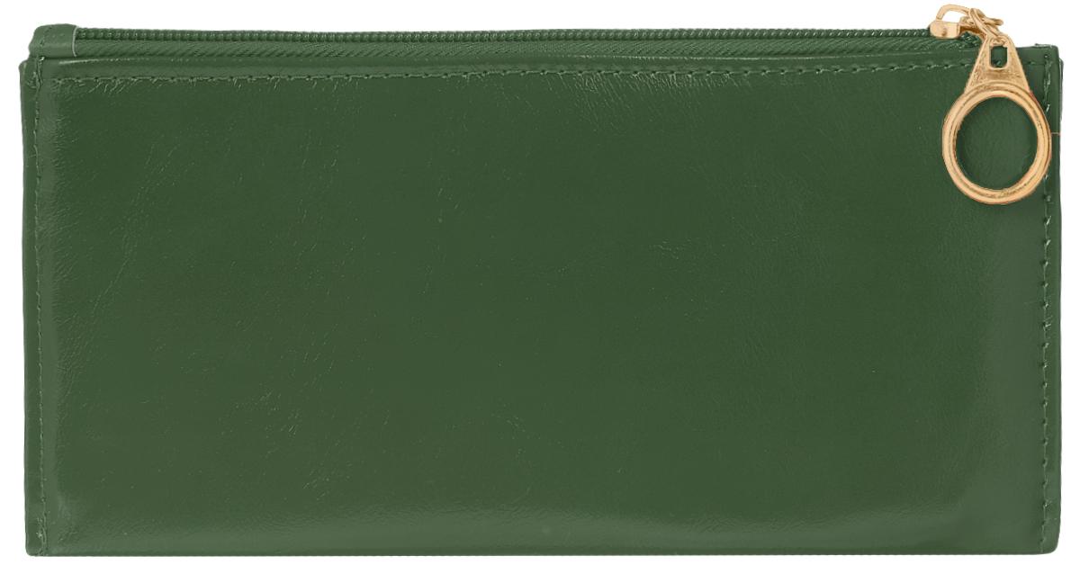 Кошелек женский Leighton, цвет: темно-зеленый. 7411-022_516Стильный женский кошелек Leighton выполнен из искусственной кожи и закрывается на застежку-молнию. Подкладка кошелька изготовлена из полиэстера. Изделие содержит три отделения для купюр, восемь карманов для пластиковых карт, снаружи карман на молнии.