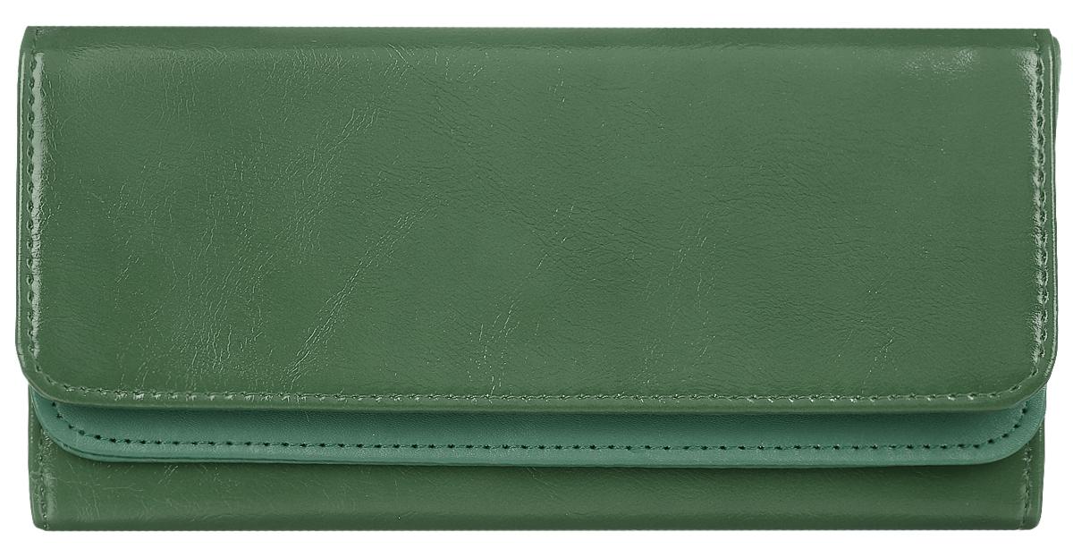 Кошелек женский Leighton, цвет: темно-зеленый. 725JC50-63278Стильный женский кошелек Leighton выполнен из искусственной кожи и закрывается на кнопку. Подкладка кошелька изготовлена из полиэстера. Изделие содержит три отделения для купюр, один потайной карман, карман для мелочи на молнии, двенадцать карманов для пластиковых карт.