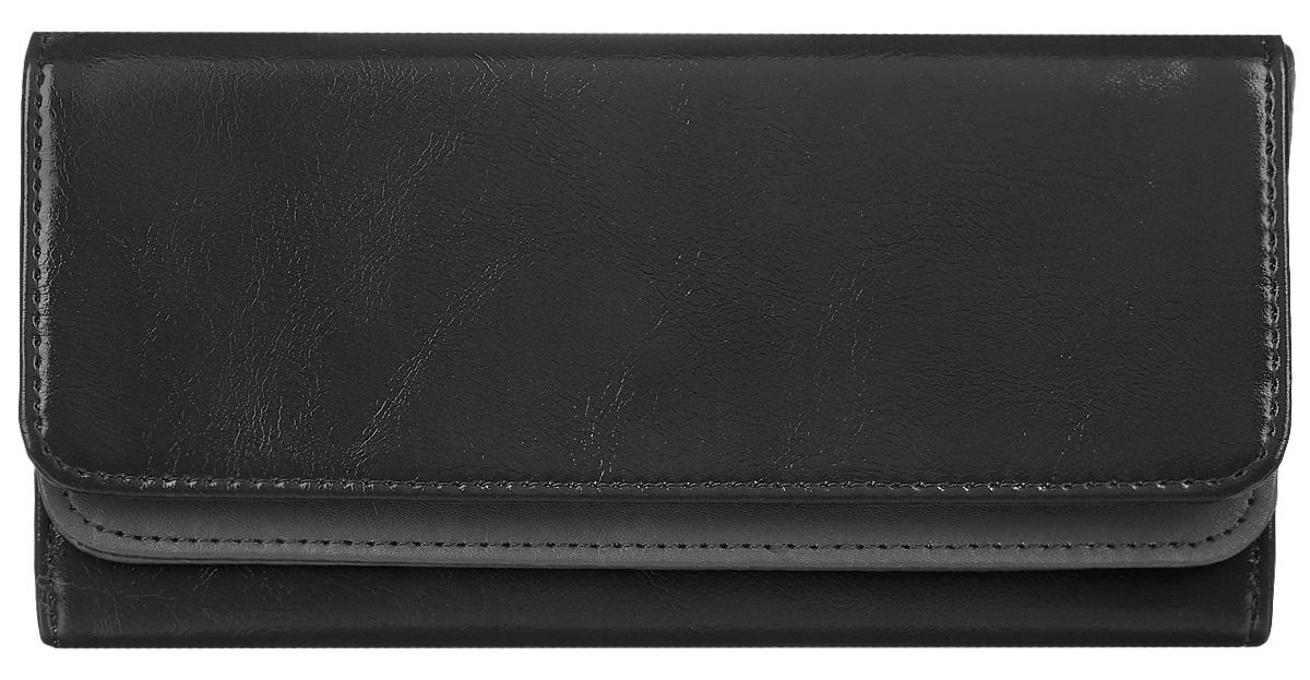 Кошелек женский Leighton, цвет: черный. 725383549Стильный женский кошелек Leighton выполнен из искусственной кожи и закрывается на кнопку. Подкладка кошелька изготовлена из полиэстера. Изделие содержит три отделения для купюр, один потайной карман, карман для мелочи на молнии, двенадцать карманов для пластиковых карточек.