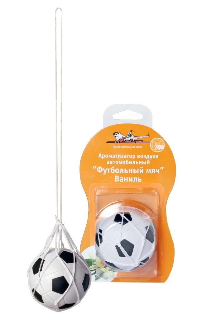 Ароматизатор автомобильный Airline Футбольный мяч, подвесной, ванильCA-3505Ароматизатор Airline Футбольный мяч в салон автомобиля в виде оригинальной игрушки станет отличным аксессуаром для машины. Ароматизатор данной модели изготовлен в форме футбольного мяча и крепится к обзорному стеклу с помощью компактной веревки. Сладкий и легкий аромат ванили, исходящий от изделия, избавит салон машины от посторонних химических и неприятных запахов.