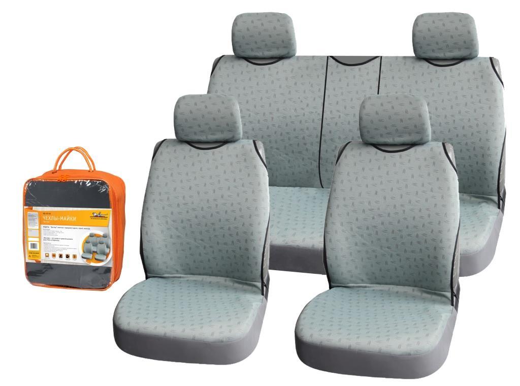 Набор автомобильных чехлов Airline Виспер, на передние и задние сиденья, цвет: серыйМ 120Комплект чехлов Airline Виспер для передних и задних сидений машины изготовлен из 100% полиэстера, обладающего рядом преимуществ для эксплуатации в салоне автомобиля. Комплект представлен в светло-сером цвете с черным принтом, расположенным по всей поверхности чехлов, а также не препятствует раскрытию подушек безопасности. Крепление чехлов имеет удобную систему установки и позволяет использовать их для автомобилей различных марок.