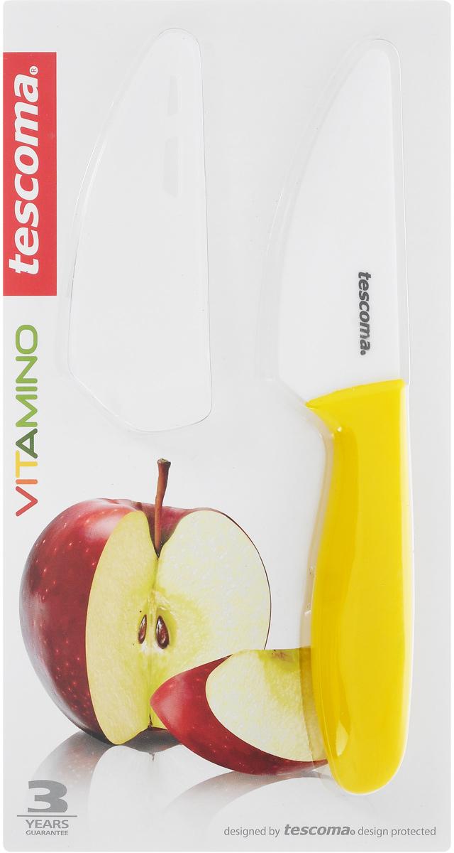 Нож для овощей и фруктов Tescoma Vitamino, керамический, с чехлом, цвет: желтый, длина лезвия 9 смFS-91909Нож Tescoma Vitamino идеально подходит для нарезки овощей, фруктов и других продуктов. Лезвие ножа изготовлено из высококачественной керамики.Керамическое лезвие при надлежащем обращении длительное время сохраняет свою остроту и редко нуждается в заточке. Эргономичная ручка, выполненная из пластика, не скользит в руках и делает резку удобной и безопасной.Процесс резки происходит плавно и легко. Нож не оставляет после себя запаха и послевкусия, что позволяет полностью сохранить свежесть продуктов. Такой нож станет незаменимым помощником на вашей кухне и займет достойное место среди кухонныхаксессуаров.Можно мыть в посудомоечной машине. Общая длина ножа: 20 см. Длина лезвия: 9 см.