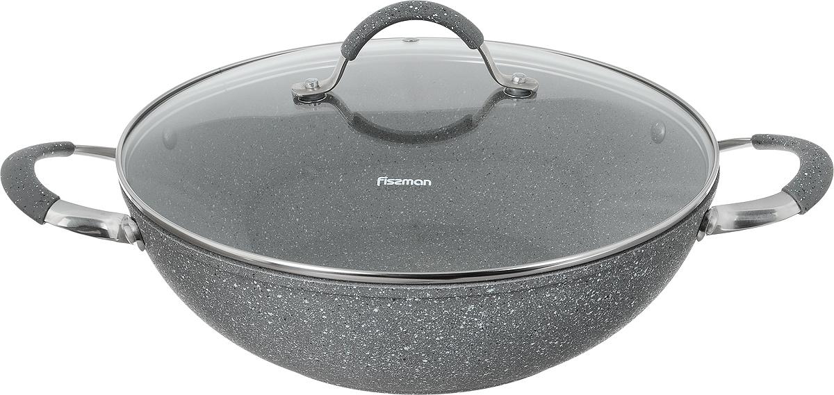 Вок Fissman Iron Stone с крышкой, с антипригарным покрытием. Диаметр 30 смFS-80299Вок Fissman Iron Stone изготовлен из алюминия сантипригарным покрытием PlatinumForte. Такоепокрытие стойкое к появлению царапин и истиранию.Толстое дно обеспечивает равномерное распределение тепла. Вок оснащен удобными металлическими ручками. Вок имеет необычную коническую форму. Он универсален: в нем удобно жарить, тушить, коптить, готовитьна пару. Основной принцип приготовления еды - быстрая жарка с непрерывным помешиванием. Готовые блюда содержат минимум жира - впитыванию масла мешает постоянное перемещение кусочков. За счет высоких стенок вока кусочки во время интенсивного перемешивания не высыпаются. Вок имеет стеклянную крышку с металлической ручкой и отверстие для выхода пара.Идеальные рецепты для вока - рагу, жаркое, плов, мясо с гарнирами из лапши и овощей, блюда-фри. Подходит для газовых, электрических, стеклокерамических, индукционных плит. Можно мыть в посудомоечной машине. Высота стенки: 9 см. Длина ручек: 4,5 см. Диаметр (по верхнему краю): 30 см.
