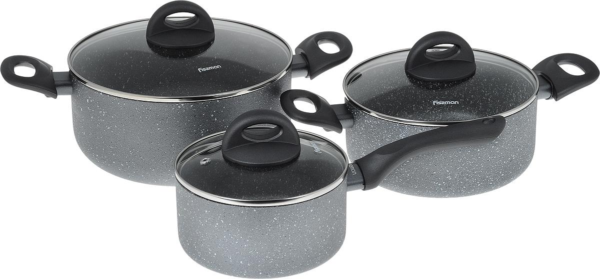 Набор посуды Fissman Moon Stone, с антипригарным покрытием, 6 предметов68/5/4Набор посуды Fissman Moon Stone состоит из двух кастрюль с крышками и ковша с крышкой. Изделия выполнены из высококачественного алюминия с антипригарным покрытием Platinum. Оптимальное соотношение толщины дна и стенок обеспечивает равномерное распределение тепла и делает посуду устойчивой к деформации. Высокопрочные огнестойкие ручки удобной формы обеспечивают удобство в процессе эксплуатации. Крышки, выполненные из стекла, оснащены ручками и отверстием для выхода пара. Можно готовить на газовых, электрических, стеклокерамических и индукционных плитах. Можно мыть в посудомоечных машинах. Диаметр кастрюль (по верхнему краю): 20 см; 24 см.Объем кастрюль: 2,8 л; 4,9 л.Высота стенок кастрюль: 9 см; 11 см.Диаметр дна кастрюль: 16 см; 17,5 см.Диаметр ковша (по верхнему краю): 16 см.Объем ковша: 1,6 л.Высота стенки ковша: 8 см.Длина ручки ковша: 16,5 см.Диаметр дна ковша: 14 см.
