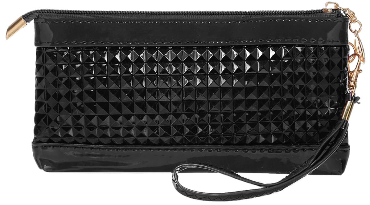 Кошелек женский Leighton, цвет: черный. 741-1INT-06501Стильный женский кошелек Leighton выполнен из искусственной кожи и закрывается на застежку-молнию. Подкладка кошелька изготовлена из полиэстера. Изделие содержит одно отделение, снаружи карман на молнии. В комплекте маленький ремешок.