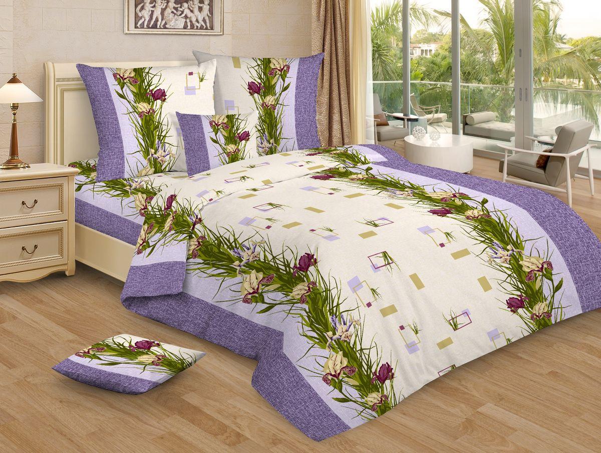 Комплект белья Amore Mio Iris, 1,5-спальный, наволочки 70x70, цвет: сиреневый, зеленый68/5/4Постельное белье из бязи практично и долговечно, а самое главное - это 100% хлопок! Материал великолепно отводит влагу, отлично пропускает воздух, не капризен в уходе, легко стирается и гладится. Новая коллекция Naturel 3-D дизайнов позволит выбрать постельное белье на любой вкус!