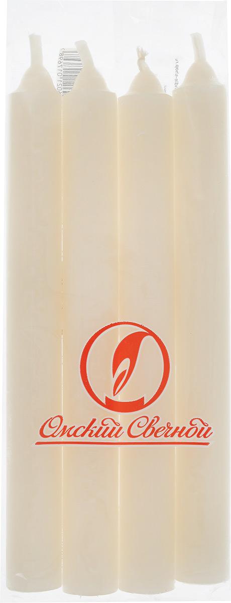 Набор свечей Омский cвечной завод, цвет: бежевый, высота 17,5 см, 4 штБрелок для ключейНабор Омский свечной завод, состоящий из 4 свечей, выполнен из 100% парафина. Такой набор украсит интерьер вашего дома или офиса и наполнит его атмосферу теплом и уютом.Высота свечи (без учета фитиля): 17 см.Диаметр основания свечи: 1,7 см.