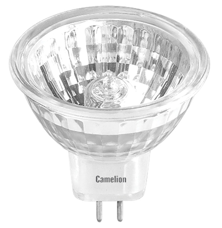 Лампа галогенная Camelion, с защитным стеклом, теплый свет, цоколь GU5.3, 35W2933Лампа галогенная Camelion используется в основном в прожекторах для освещения жилых помещений, офисов, квартир и общественных объектов. Основные преимущества галогенных ламп - это низкое энергопотребление, высокая надежность, компактность и длительный срок службы.Рабочее напряжение: 12 В. Мощность: 35 Вт.