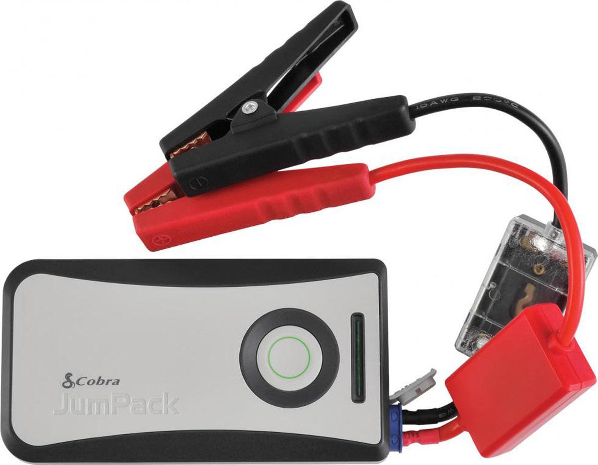 Пуско-зарядное устройство Cobra JumPackSpiraler L, BlackПуско-зарядное устройство Cobra CPP 8000Особенности: - Высоко эффективное мини пуско-зарядное устройство;- Компактное и легкое, поместится в сумку, карман или портфель;- Много раз позволит запустить двигатель вашего авто;- 2.4 A Быстрая зарядка позволит зарядить ваш iPhone или другой смартфон много раз;- Имеет 12V постоянного напряжения и стандартный вход для зарядки Micro USB;- LED фонарик и LED статус заряда аккумулятора;- Новый компактный дизайн и компактная упаковка.