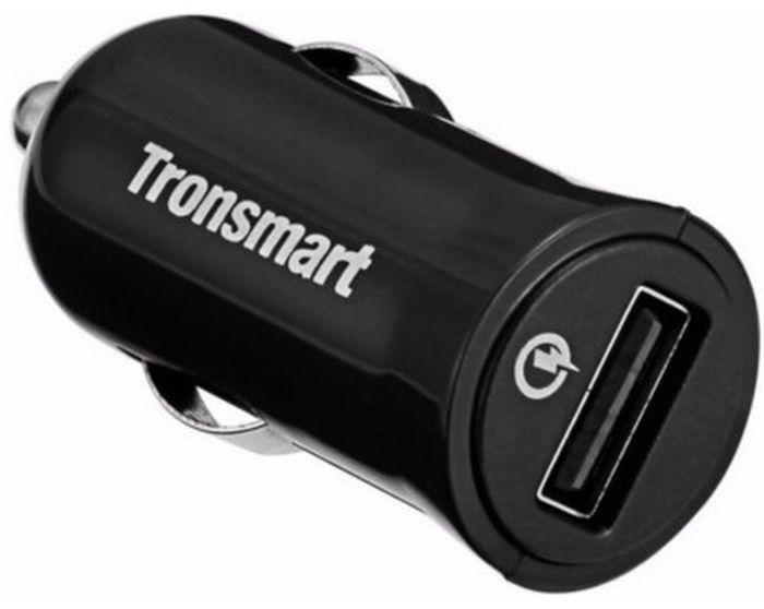 Автомобильное зарядное устройство Tronsmart CC1Q Quick Car Charger, 1 порт QC2.0 + кабель USB-microUSB, 1 метрO00000563Tronsmart CC1Q - это высококачественное автомобильное зарядное устройство. Данное ЗУ подключается к бортовой сети автомобиля с помощью разъема прикуривателя. Включенная в устройство защита позволит сохранить вам ваше устройство от различных поломок, связанных с непостоянством тока в сети. Также рассматриваемая модель обеспечивает быструю зарядку девайсов с поддержкой Qualcomm Quick Charge 2.0. Стоит также отметить, что данное зарядное устройство обладает высочайшей надежностью и увеличенным сроком службы, которые обеспечиваются благодаря использованию в его конструкции исключительно высококачественных элементов.