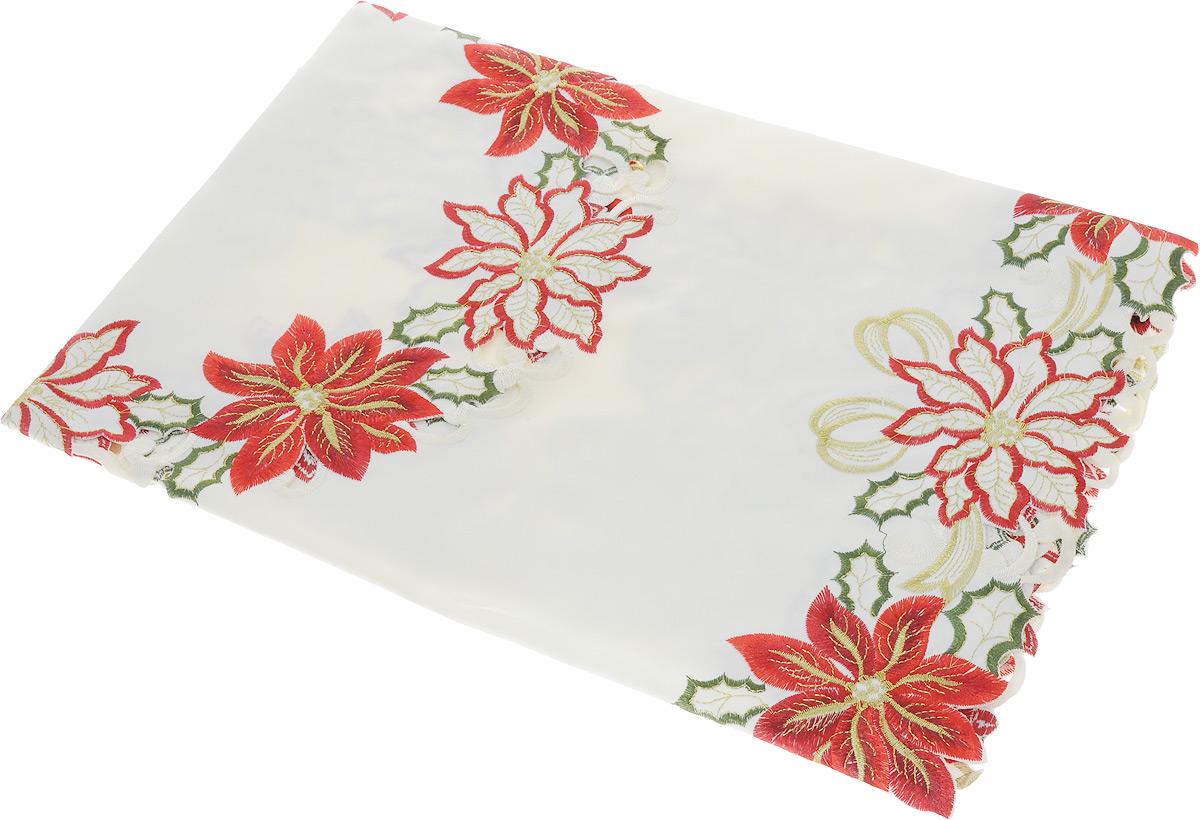 Скатерть Schaefer, квадратная, цвет: молочный, красный, золотистый, 85 x 85 смlns239844Квадратная скатерть Schaefer, выполненная из полиэстера, станет украшением кухонного стола. Изделие оформлено вышивкой и перфорированным узором. За текстилем из полиэстера очень легко ухаживать: он не мнется, не садится и быстро сохнет, легко стирается, более долговечен, чем текстиль из натуральных волокон.Использование такой скатерти сделает застолье торжественным, поднимет настроение гостей и приятно удивит их вашим изысканным вкусом. Также вы можете использовать эту скатерть для повседневной трапезы, превратив каждый прием пищи в волшебный праздник и веселье. Это текстильное изделие станет изысканным украшением вашего дома!