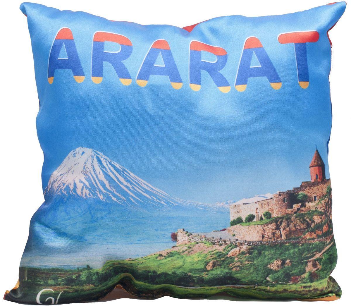 Подушка декоративная Главдор GL-520. Армения-Арарат, с рисунком, 30х30 см21395598Декоративные подушки c апликацией в салон автомобиля.