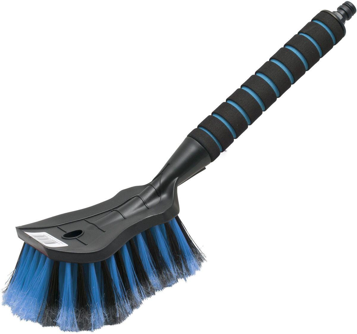 Щетка для мытья Главдор, цвет: голубой55302Щетка для мытья Главдор с мягкой, распушенной щетиной, изготовлена из прочного пластика. Рукоятка имеет мягкое пенополиэтиленовое покрытие и снабжена адаптером (насадкой) для подключения к шлангу.Общая длина щетки: 40 см.
