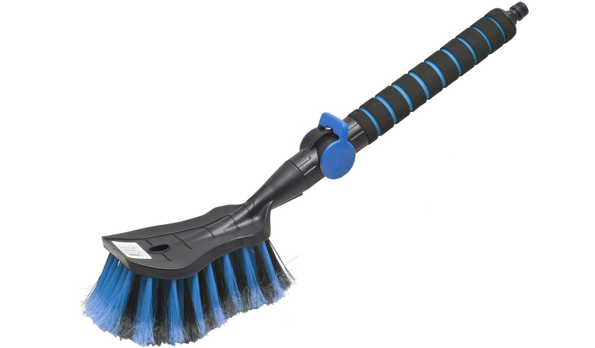 Щетка для мытья Главдор GL-578, с клапаном, цвет: голубойRC-100BWCЩетка для мытья с мягкой, распушенной щетиной, изготовлена из прочного пластика. Рукоятка имеет мягкое пенополиэтиленовое покрытие, снабжена адаптером (насадкой) дляподключения к шлангу и клапаном регулировки подачи воды.