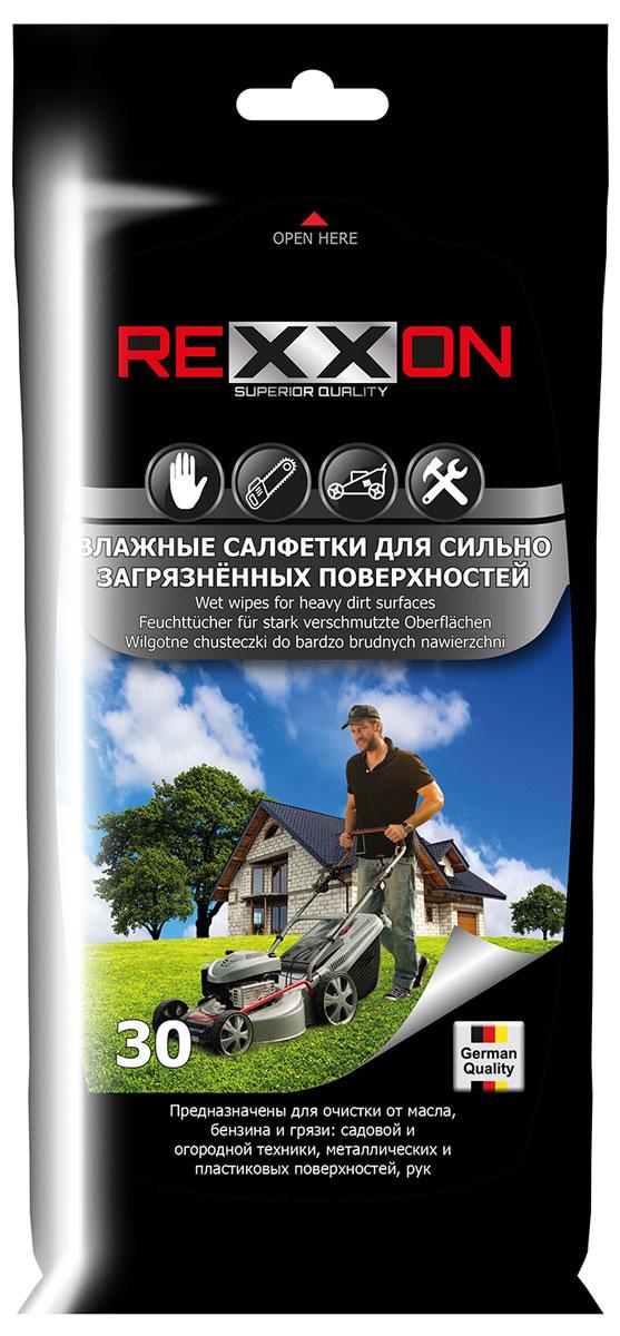 Влажные салфетки Rexxon, для сильно загрязненных поверхностей автомобиля, 30 штAB-D-02Влажные салфетки предназначены для очистки от масла, бензина и грязи садовой и огородной техники, а также металлических и пластиковых поверхностей автомобиля, и рук.