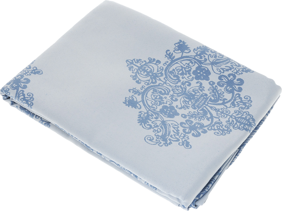 Скатерть Schaefer, прямоугольная, цвет: серебристо-голубой, синий, 160 х 220 см. 07811-408 скатерть schaefer прямоугольная цвет темно синий 130 x 220 см 4043