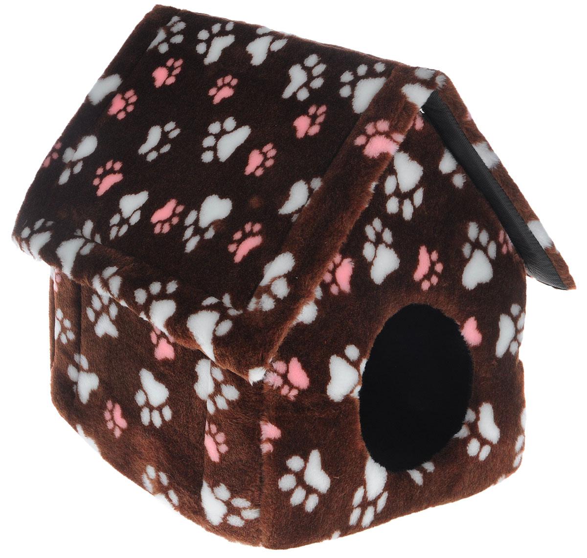 Домик для животных Elite Valley, цвет: коричневый, белый, розовый, 37 х 35 х 45 см0120710Домик Elite Valley непременно станет любимым местом отдыха вашего домашнего животного. Изделие выполнено из искусственного меха и нетканого материала, а наполнитель - из поролона. Такой материал не теряет своей формы долгое время. Внутри имеется мягкая съемная подстилка. Крыша домика крепится при помощи молнии и полностью снимается. В таком домике вашему любимцу будет мягко и тепло. Он подарит вашему питомцу ощущение уюта и уединенности, а также возможность спрятаться. Очень удобен для транспортировки и легко складывается.