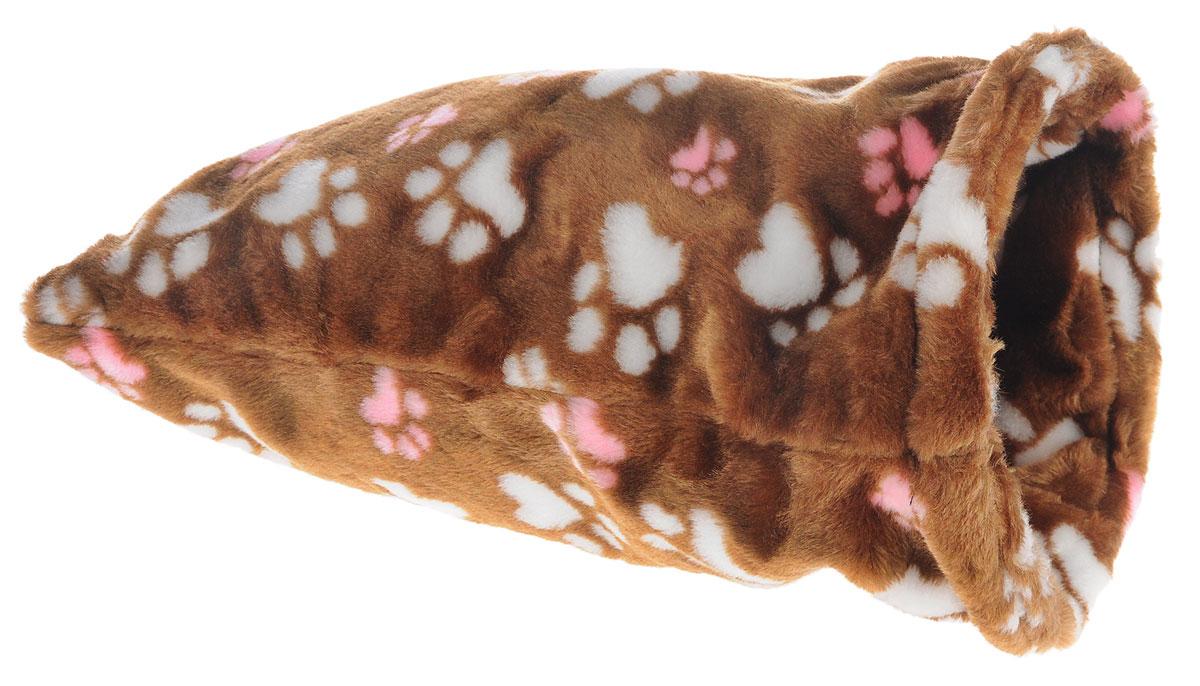 Лежак для животных Elite Valley Мешок, цвет: светло-коричневый, белый, розовый, 20 х 20 х 40 смЛ-18/1_светло-коричневый, лапки белые и розовыеНеобычный лежак Elite Valley Мешок станет лучшим подарком для вашего любимца. Изделие выполнено из искусственного меха и оснащен внутри металлическим кольцом.Мягкий, теплый мешок надолго привлечет внимание животного, обеспечит интересным времяпровождением, а также даст возможность прятаться внутри от холода и посторонних взглядов.