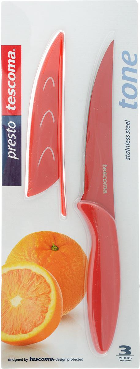 Нож универсальный Tescoma Presto Tone, с чехлом, цвет: красный, длина лезвия 12 см863082Универсальный нож Tescoma Presto Tone предназначен для нарезки мяса, овощей, фруктов и других продуктов. Лезвие выполнено из высококачественной нержавеющей стали с антиадгезивным покрытием, а ручка из прочного пластика. Продукты не прилипают к лезвию. Изделие легко чистится. В комплект входит защитный чехол для бережного хранения. Можно мыть в посудомоечной машине, не рекомендуется использовать металлические губки и абразивные чистящие средства. Общая длина ножа: 22,7 см.