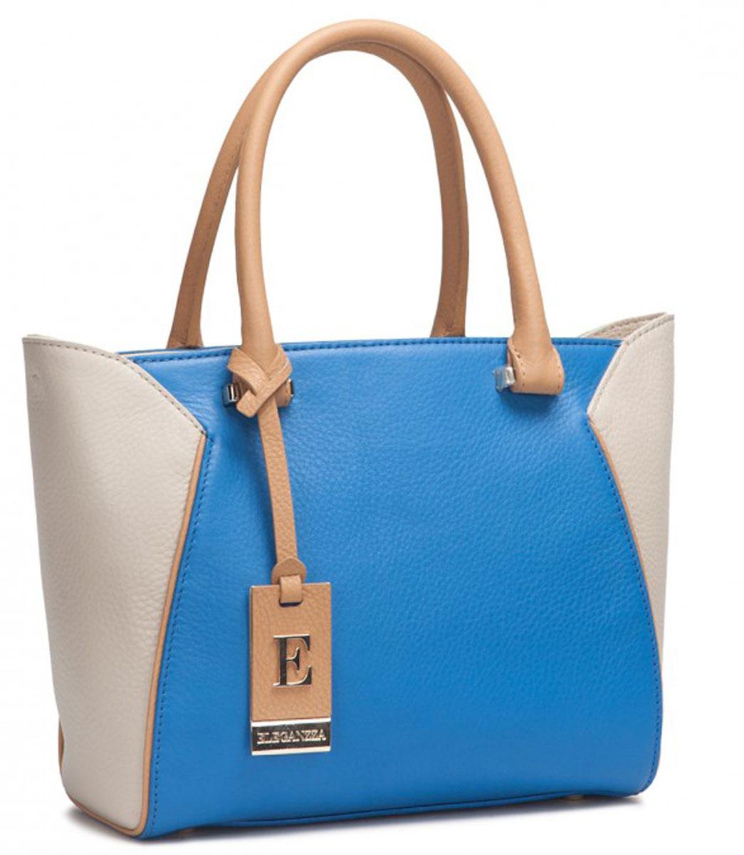 Сумка женская Eleganzza, цвет: голубой, бежевый. Z-14588-2EQW-M710DB-1A1Женская сумка торговой марки ELEGANZZA из натуральной кожи. Сумка закрывается на металлическую молнию. Внутри - два отделения, разделенные средником на молнии, в одном имеется карман на молнии, в другом - карман для мобильного телефона и открытый карман. Модель имеет ножки на дне, а так же карман на задней стенке. На передней стенке есть отделение без карманов, которое закрывается на магнит. Высота ручек - 13 см. Длина наплечного ремня - 110 см.