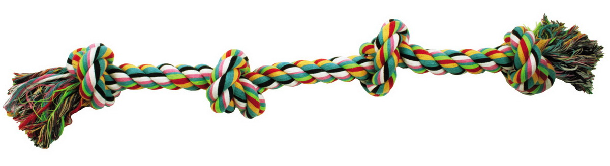 Игрушка для собак Dezzie Канат с узлами, длина 55 см0120710Игрушка для собак Dezzie Канат с узлами изготовлена из натуральной хлопковой веревки поэтому не только увлекательна, но и полезна для здоровья домашних животных. Во время игры питомец тренирует десны и очищает свои зубы от камня. Веревочные игрушки - это одни из самых популярных игрушек для собак. Длина игрушки: 55 см.