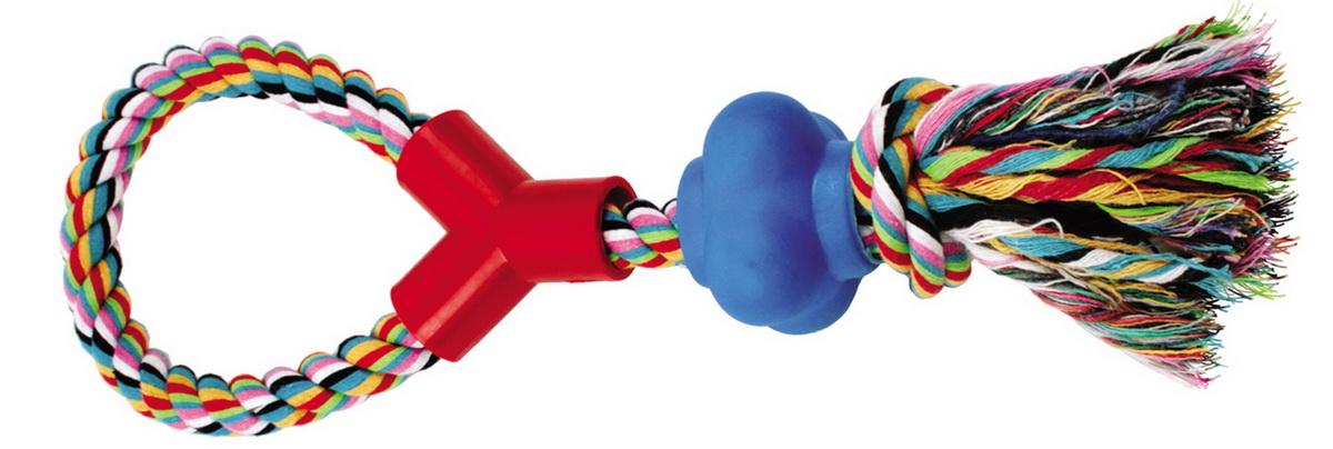 Игрушка для собак Dezzie Веревка №8, длина 33 см5620102Игрушка для собак Dezzie Веревка №8 изготовлена из натуральной хлопковой веревки и шарика из винила, поэтому не только увлекательна, но и полезна для здоровья домашних животных. Во время игры питомец тренирует десны и очищает свои зубы от камня. Веревочные игрушки - это одни из самых популярных игрушек для собак. Длина игрушки: 33 см.