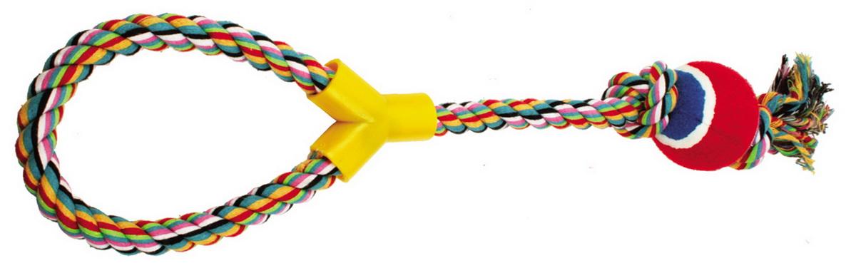 Игрушка для собак Dezzie Веревка №3, длина 50 см5604145Игрушка для собак Dezzie Веревка №3 изготовлена из натуральной хлопковой веревки и шарика из винила, поэтому не только увлекательна, но и полезна для здоровья домашних животных. Во время игры питомец тренирует десны и очищает свои зубы от камня. Веревочные игрушки - это одни из самых популярных игрушек для собак. Длина игрушки: 50 см.
