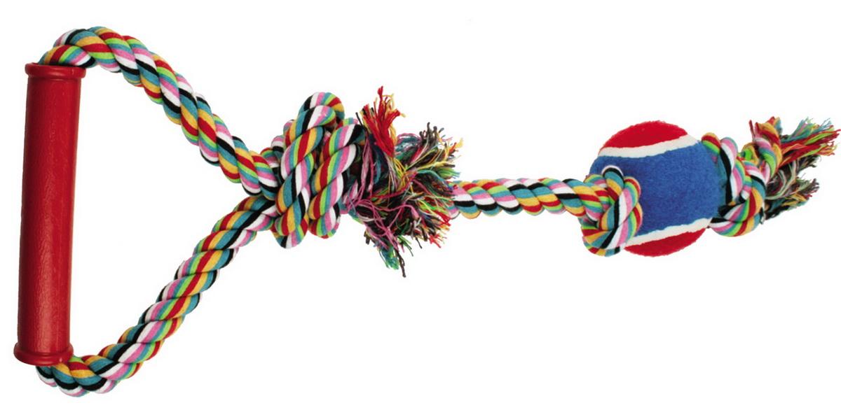Игрушка для собак Dezzie Веревка №1, длина 50 см0120710Игрушка для собак Dezzie Веревка №1 изготовлена из натуральной хлопковой веревки, ручки из пластика и шарика из резины, поэтому не только увлекательна, но и полезна для здоровья домашних животных. Во время игры питомец тренирует десны и очищает свои зубы от камня. Веревочные игрушки - это одни из самых популярных игрушек для собак. Длина игрушки: 50 см.