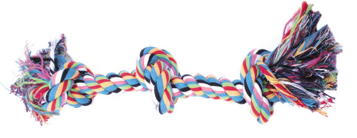Игрушка для собак Dezzie Канат с узлом, длина 43 см0120710Игрушка для собак Dezzie Канат с узлом изготовлена из натуральной хлопковой веревки поэтому не только увлекательна, но и полезна для здоровья домашних животных. Во время игры питомец тренирует десны и очищает свои зубы от камня. Веревочные игрушки - это одни из самых популярных игрушек для собак. Длина игрушки: 43 см.
