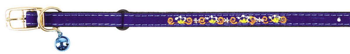 Ошейник для кошек Dezzie, с бубенчиком, цвет: голубой, обхват шеи 28 см, ширина 1 см. 5609382
