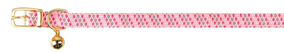 Ошейник для кошек Dezzie, с бубенчиком, цвет: розовый, обхват шеи 28 см, ширина 1 см. 56093870120710Ошейник, растягивающийся на резинке для кошек Dezzie, изготовленный из полиэстера, декорирован теснением и дополнен бубенчиком.Ошейник застегивается на металлическую пряжку.Бубенчик позволит контролировать местонахождение кошки, а также будет оберегать уличных птиц от нежелательного контакта.Имеется металлическое кольцо для крепления поводка. Обхват шеи: 28 см. Ширина ошейника: 1 см.