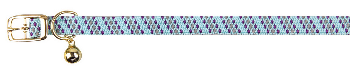 Ошейник для кошек Dezzie, с бубенчиком, цвет: голубой, обхват шеи 28 см, ширина 1 см. 56093885609388Ошейник, растягивающийся на резинке для кошек Dezzie, изготовленный из полиэстера, декорирован теснением и дополнен бубенчиком.Ошейник застегивается на металлическую пряжку.Бубенчик позволит контролировать местонахождение кошки, а также будет оберегать уличных птиц от нежелательного контакта.Имеется металлическое кольцо для крепления поводка. Обхват шеи: 28 см. Ширина ошейника: 1 см.