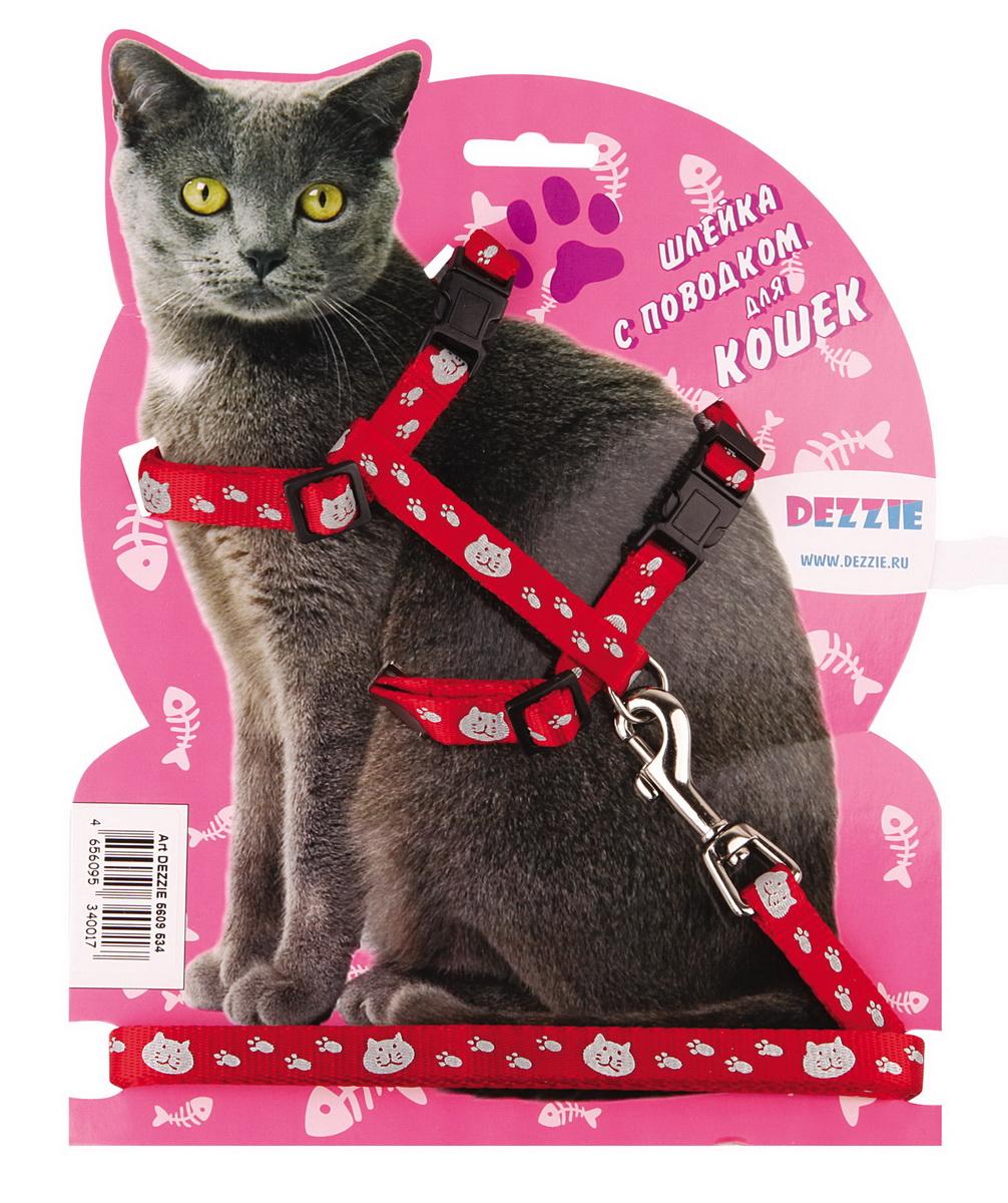 Шлейка для кошек Dezzie, с поводком, ширина 1 см, обхват груди 34-57 см, цвет: красный, белый. 56095345609534Шлейка Dezzie, изготовленная из прочного нейлона, подходит для кошек крупных размеров. Крепкие пластиковые элементы делают ее надежной и долговечной. Обхват шлейки регулируется при помощи пряжек. В комплект входит поводок из нейлона, который крепится к шлейке с помощью металлического карабина. Шлейка и поводок оформлены изображением кошачьей мордочки и следов лапок. Шлейка - это альтернатива ошейнику. Правильно подобранная шлейка не стесняет движения питомца, не натирает кожу, поэтому животное чувствует себя в ней уверенно и комфортно.Обхват груди: 34-57 см.Ширина шлейки/поводка: 1 см.Длина поводка: 120 см.Длина ошейника: 34-57 см.