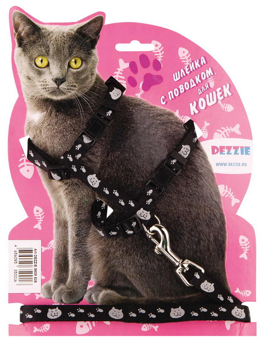 Шлейка для кошек Dezzie, с поводком, ширина 1 см, обхват груди 34-57 см, цвет: черный, белый. 5609535SJ23KШлейка Dezzie, изготовленная из прочного нейлона, подходит для кошек крупных размеров. Крепкие пластиковые элементы делают ее надежной и долговечной. Обхват шлейки регулируется при помощи пряжек. В комплект входит поводок из нейлона, который крепится к шлейке с помощью металлического карабина. Шлейка и поводок оформлены изображением кошачьей мордочки и следов лапок. Шлейка - это альтернатива ошейнику. Правильно подобранная шлейка не стесняет движения питомца, не натирает кожу, поэтому животное чувствует себя в ней уверенно и комфортно.Обхват груди: 34-57 см.Ширина шлейки/поводка: 1 см.Длина поводка: 120 см.Длина ошейника: 34-57 см.