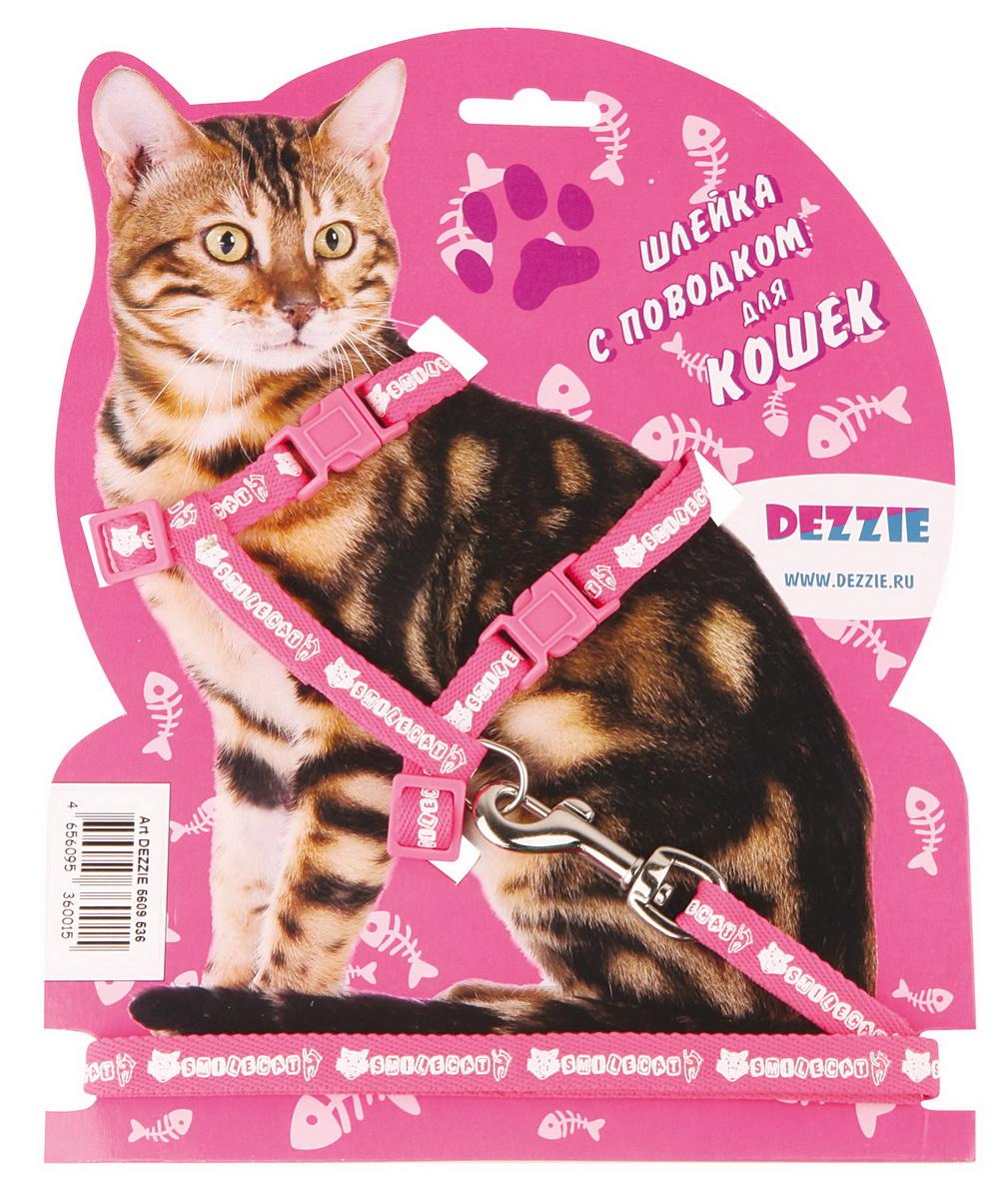 Шлейка для кошек Dezzie, с поводком, ширина 1 см, обхват груди 22-42 см, цвет: розовый, белый. 56095365624097Шлейка Dezzie, изготовленная из прочного нейлона, подходит для кошек крупных размеров. Крепкие пластиковые элементы делают ее надежной и долговечной. Обхват шлейки регулируется при помощи пряжек. В комплект входит поводок из нейлона, который крепится к шлейке с помощью металлического карабина. Шлейка и поводок оформлены изображением. Шлейка - это альтернатива ошейнику. Правильно подобранная шлейка не стесняет движения питомца, не натирает кожу, поэтому животное чувствует себя в ней уверенно и комфортно.Обхват груди: 22-42 см.Ширина шлейки/поводка: 1 см.Длина поводка: 120 см.Длина ошейника: 22-42 см.
