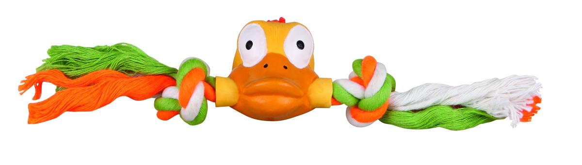 Игрушка для собак Dezzie Утка на веревке, длина 20 смGLG002m-a315/b_оранжевый, красныйИгрушка для собак Dezzie Утка на веревке изготовлена из латекса в виде утки с текстильными веревками. Она безопасна для здоровья животного. Латекс не твердеет под действием желудочного сока, поэтому игрушку можно смело покупать даже самым маленьким щенкам.Очаровательная игрушка обеспечит досуг собаке и не позволит ей скучать. Длина игрушки: 20 см.